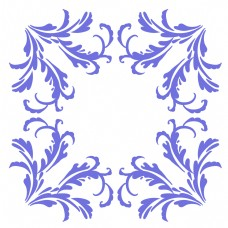 精美的蓝色花纹边框