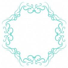 绿色花纹圆形边框