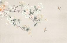 手绘花鸟树中式玄关屏风背景墙底