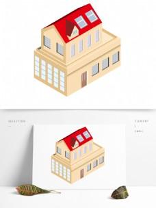2.5D红房子高级建筑场景AI素材
