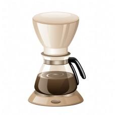 煮咖啡咖啡机手绘插图
