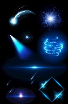 蓝色炫酷光束光环元素