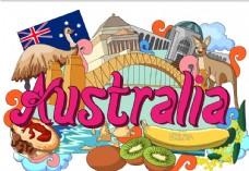 澳大利亚国家手绘插画