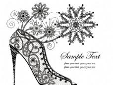 蕾丝花卉高跟鞋