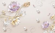 简约时尚新中式郁金香背景墙