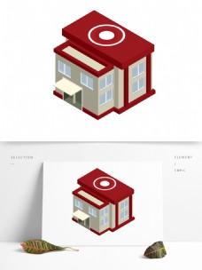 2.5D红房子建筑场景AI素材