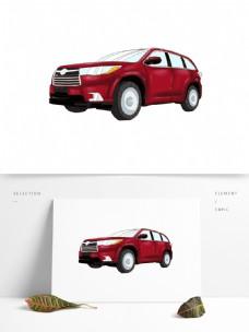 原创手绘交通工具车元素红色SUV商务车