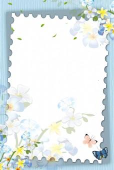 蓝色文艺边框春季背景
