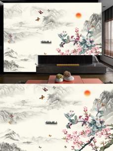 山水情工笔花鸟电视背景墙