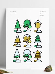 下雪场景树木元素可商用