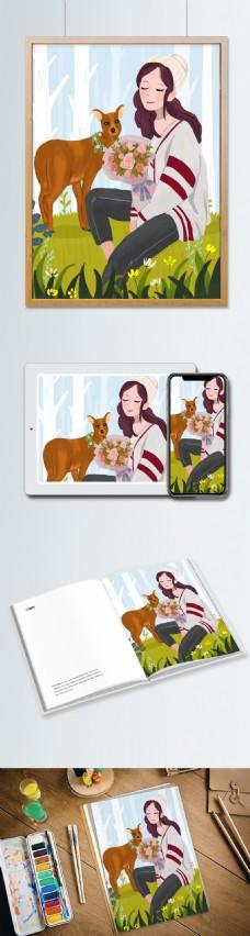 鹿和抱花少女插画