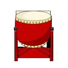 新年红色的锣鼓插画
