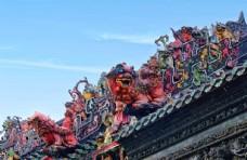 陈家祠传统的屋檐祥狮雕塑