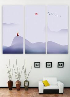 中式禅意青调极简三联客厅书房装饰画