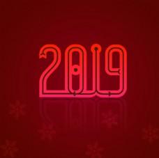 2019年 红色背景 新年快乐