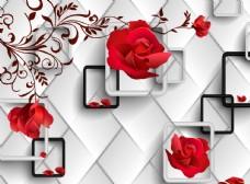 3d玫瑰软包背景墙