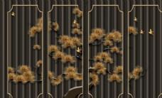 新中式浮雕迎客松背景墙