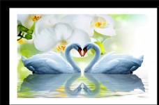 白色蝴蝶兰天鹅湖倒影装饰画