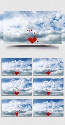 大气唯美蓝天白云云层飞舞红心爱心婚庆背景