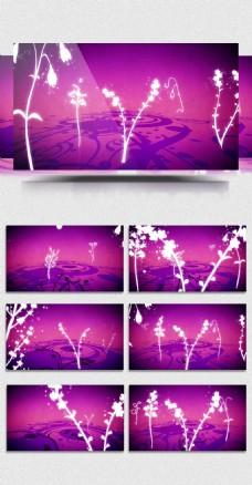 2D紫色花纹生长婚礼婚庆浪漫背景视频