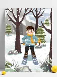 手绘冬季滑雪的男孩背景设计