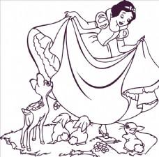 白雪公主鹿兔子草地仙女