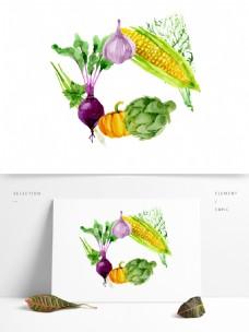 手绘卡通绿色蔬菜png元素