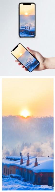 雪乡日出手机壁纸