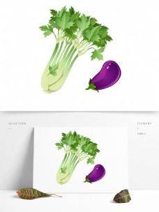 卡通手绘新鲜的绿色蔬菜素材