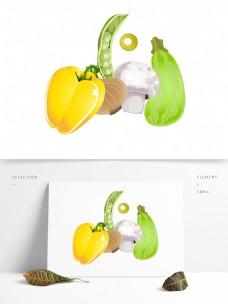 卡通绿色蔬菜植物元素