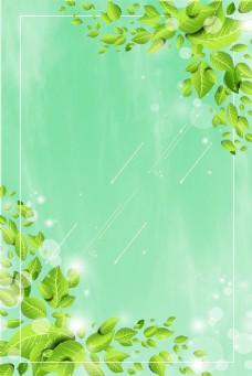 春天绿色对称树叶边框电商淘宝背景H5