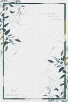 水墨兰花植物边框电商淘宝背景H5