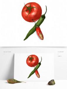 卡通绿色蔬菜西红柿png元素