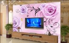 客厅3D玫瑰 花纹电视墙