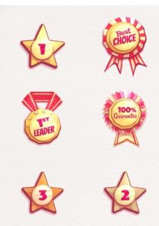 6款創意銷售獎牌和徽章矢量素材