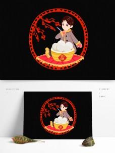 红色喜庆小女孩元宵节快乐