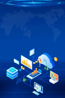 25D互联网科技区块链背景模板