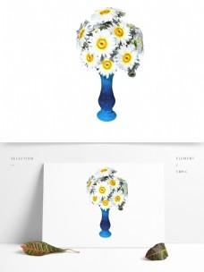 植物类通用元素花瓶插花雏菊PSD