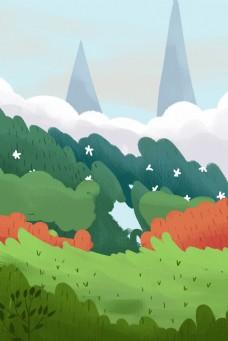 卡通春天野外风景