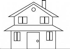 简约黑色线条房屋简笔画
