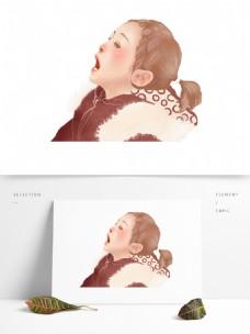 卡通可爱风女孩插画人物元素