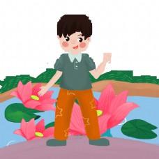 男孩荷花湖边拍照