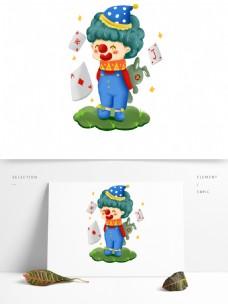 卡通可爱小丑扑克牌抱小兔