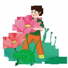 男孩采摘粉红荷花