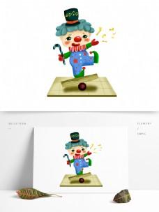 卡通可爱小丑独木板杂技表演