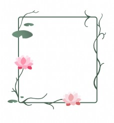 荷花边框手绘花藤