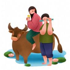 清明节人物和春牛