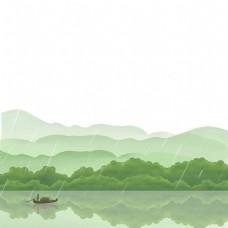 春天远山春雨扁舟青山PNG装饰边框春色风景