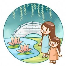 母女公园荷花池观赏荷叶