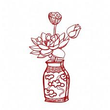 中国风红色剪纸荷花莲花莲蓬花瓶